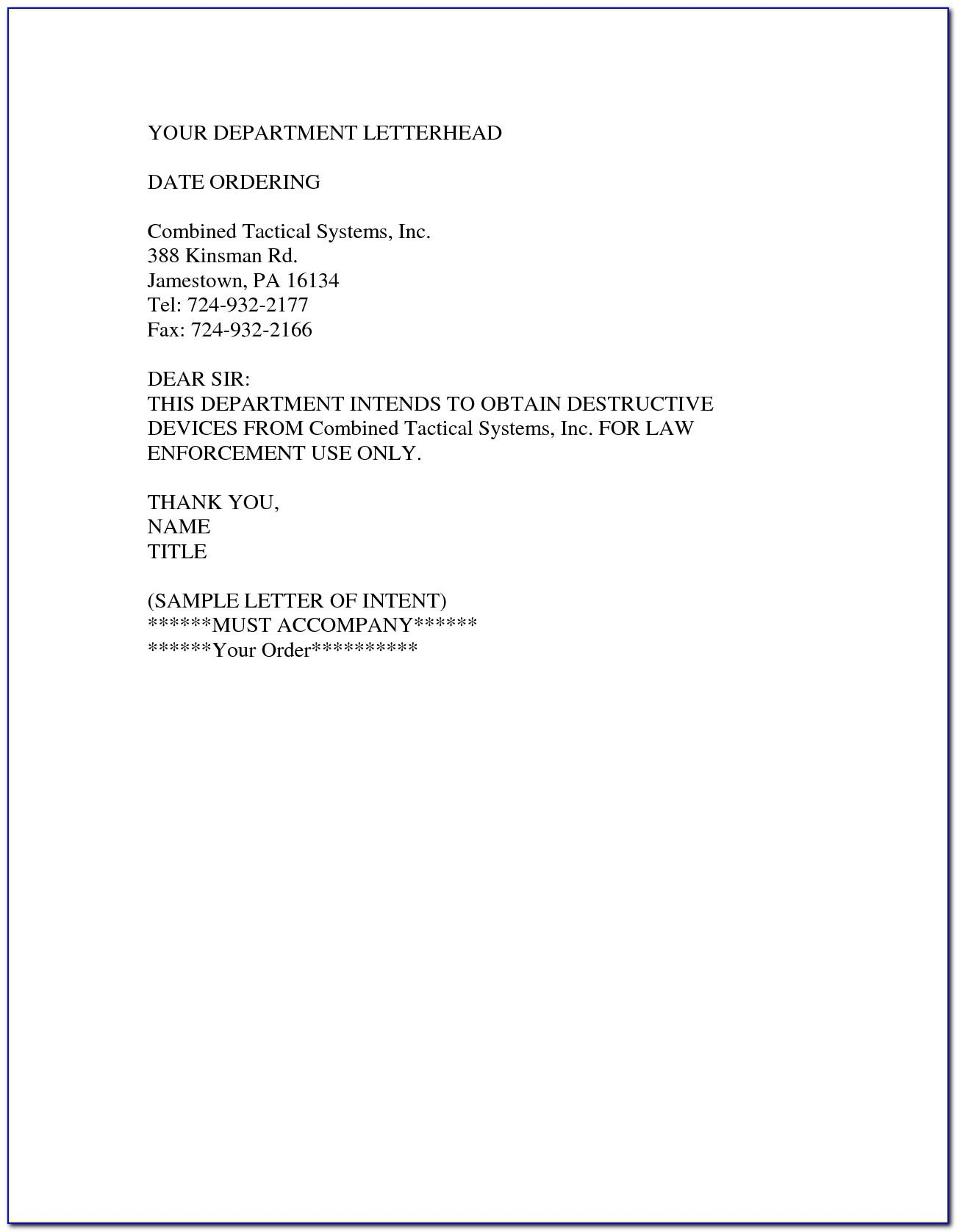 Law School Letter Of Intent Example