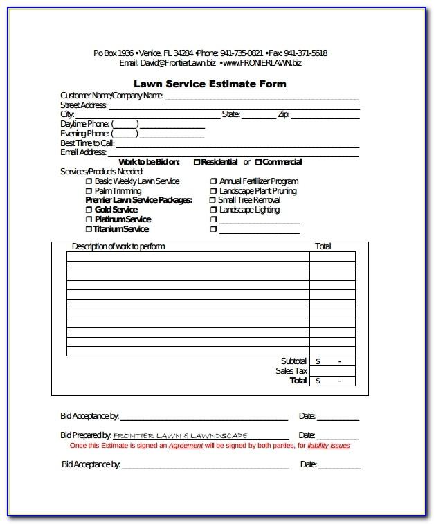 Lawn Care Bid Proposal Form