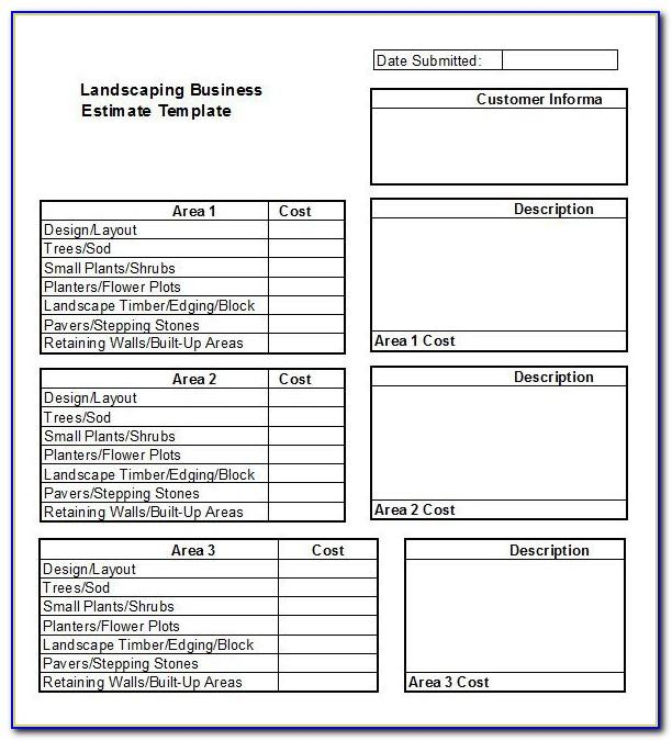 Lawn Care Bid Sheet Template