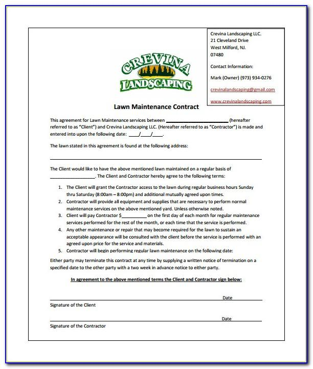 Lawn Care Business Contract Templates