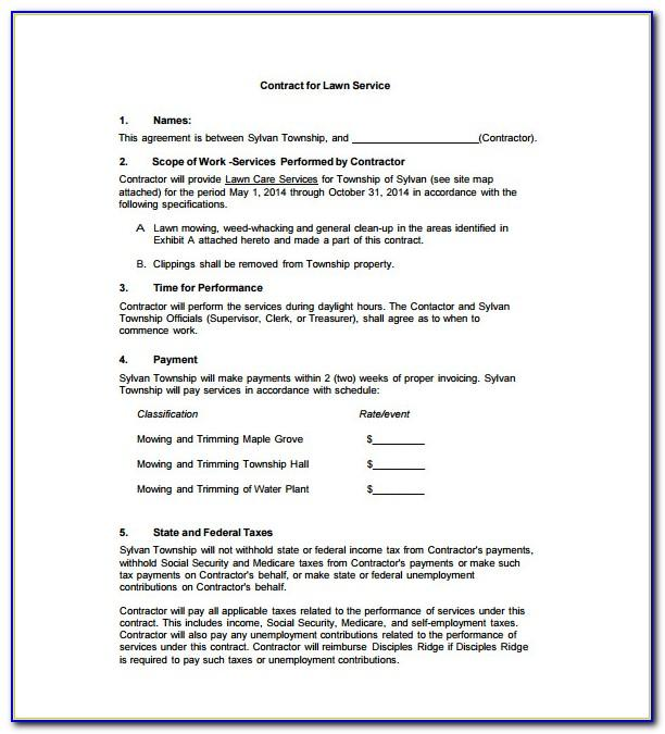 Lawn Care Contract Samples
