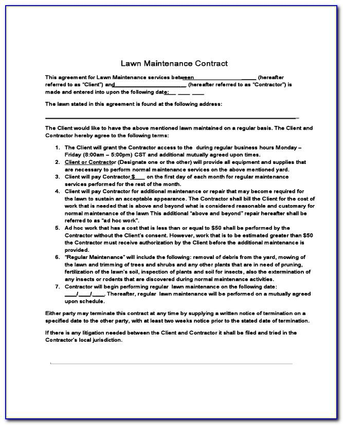 Lawn Care Contract Template Pdf