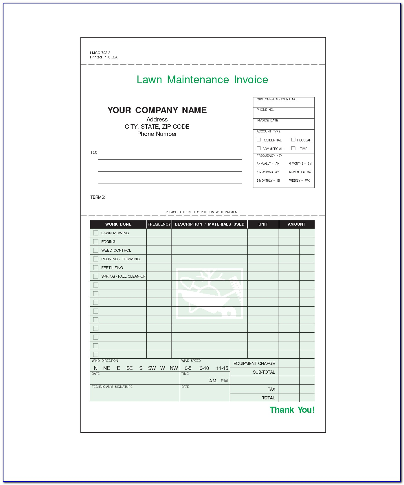 Lawn Care Invoice Template Microsoft Office