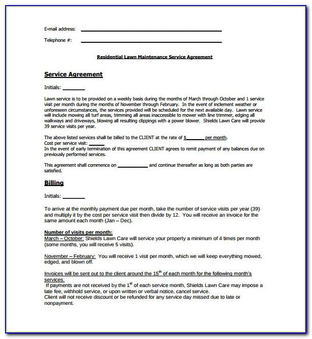 Lawn Maintenance Agreement Form