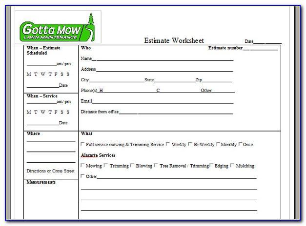 Lawn Service Bid Forms