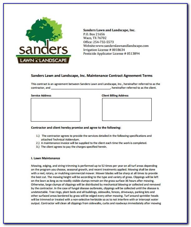 Lawn Service Contract Forms