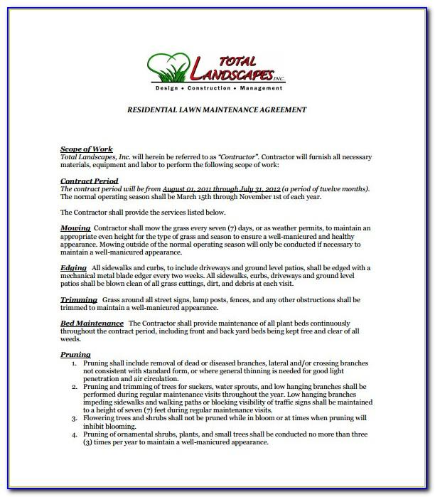 Lawn Service Contract Samples