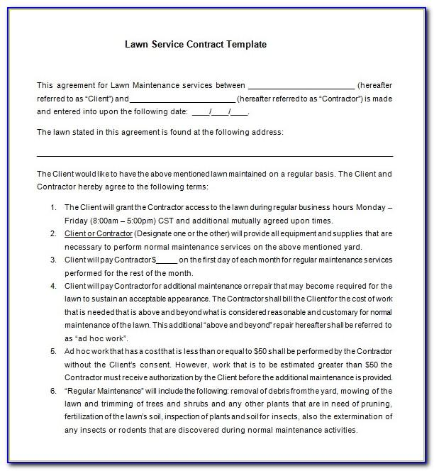 Lawn Service Contract Template Download