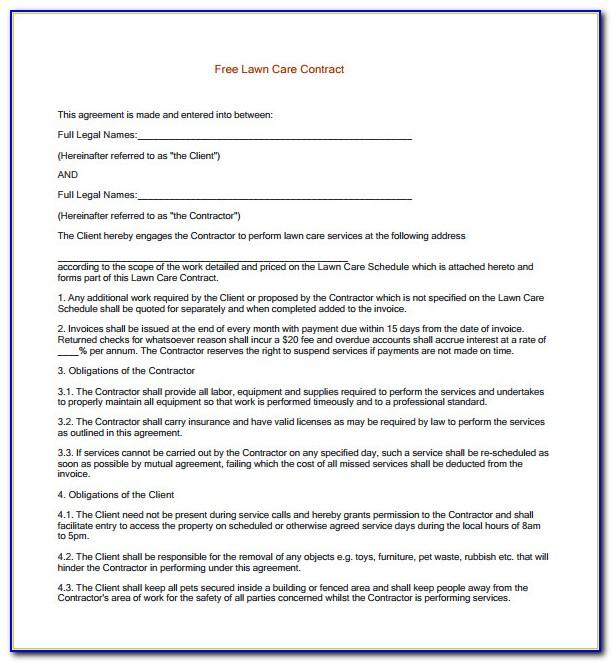 Lawn Service Contracts Template
