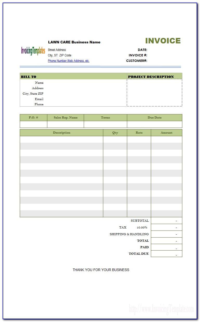 Lawn Service Invoice Sample