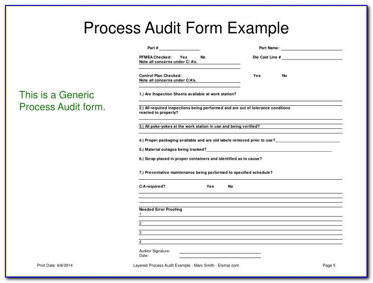 Layered Process Audit Questionnaire