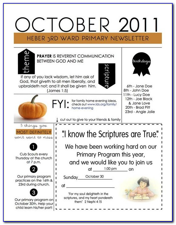 Lds Church Newsletter Templates