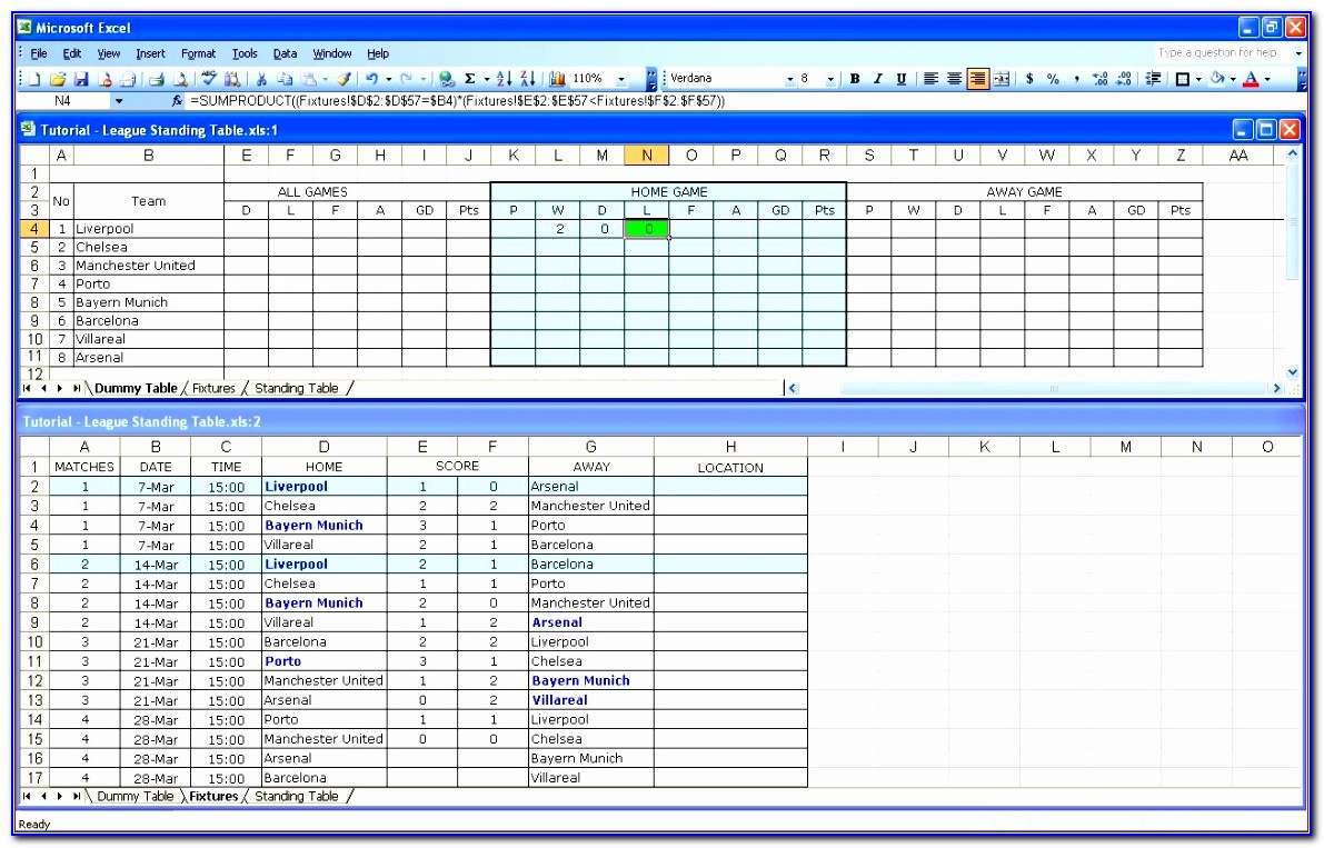 League Table Templates Excel