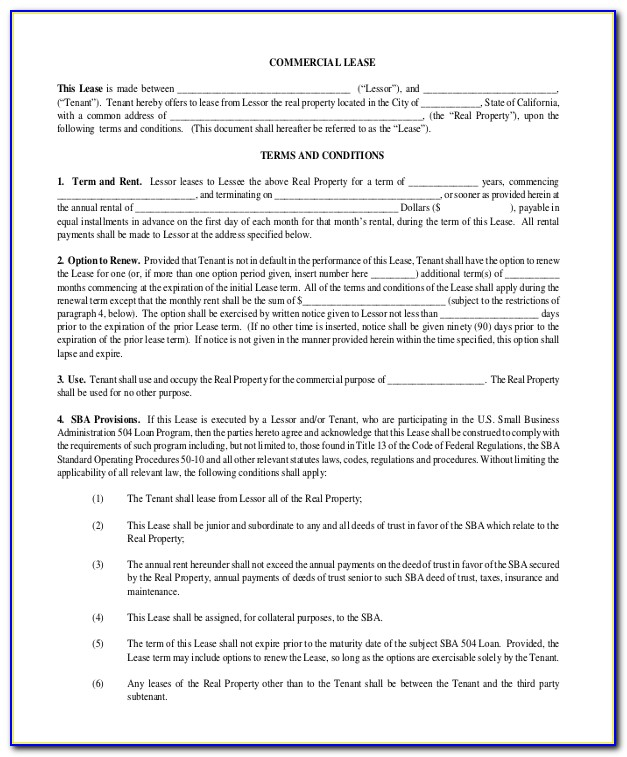 Lease Agreement Commercial Property Template