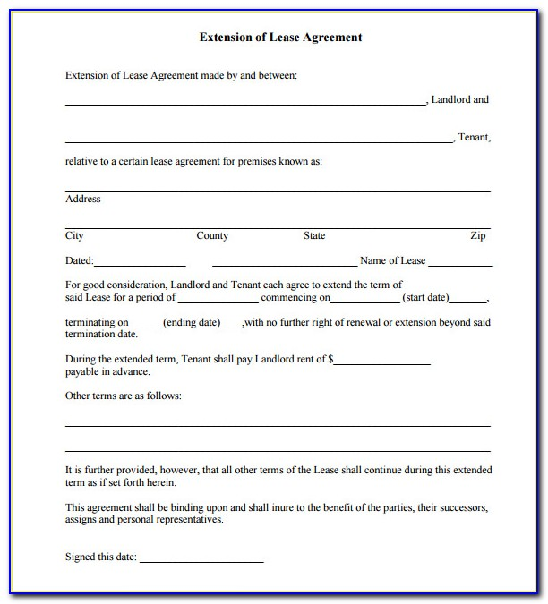 Lease Agreement Extension Letter Sample