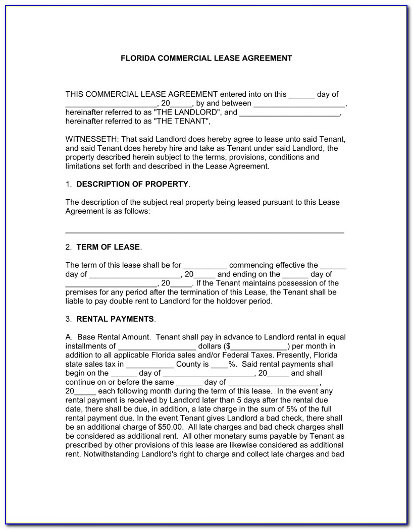 Lease Agreement Florida Sample