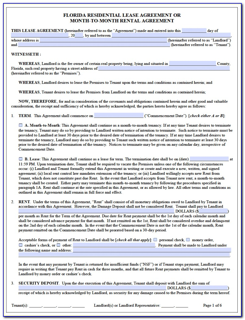 Lease Agreement Form California Pdf
