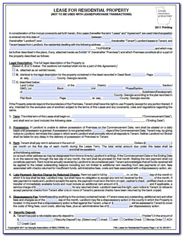 Lease Agreement Form Georgia