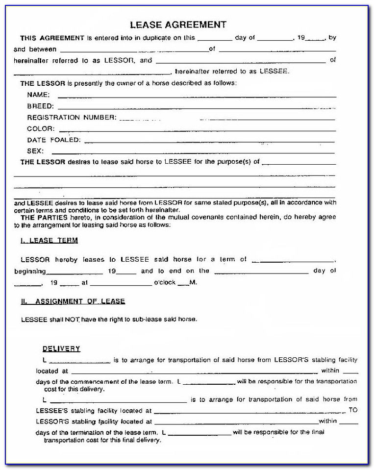 Lease Agreement Form Ireland