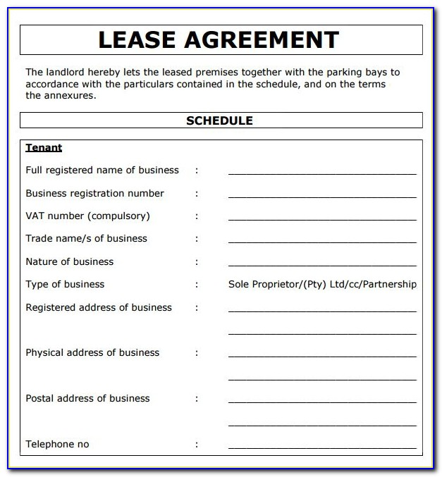 Lease Agreement Form Residential