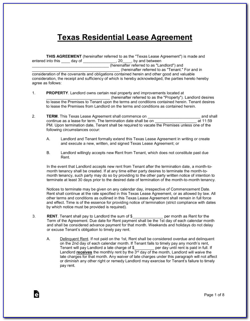 Lease Agreement Form Texas
