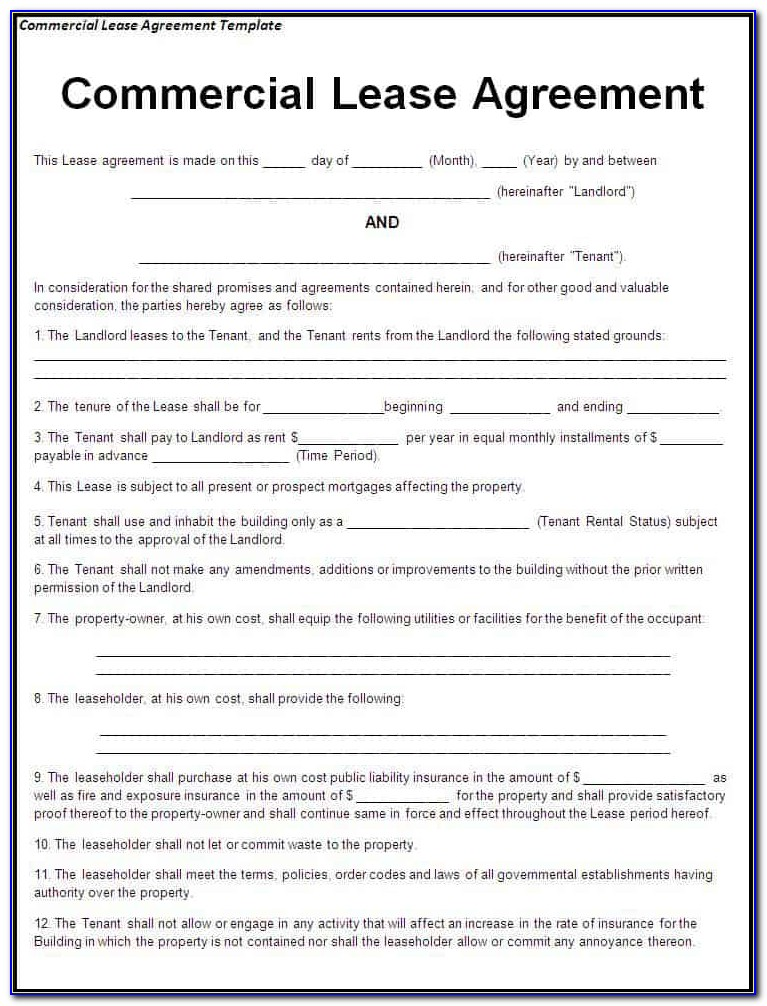 Lease Agreement Format Pdf