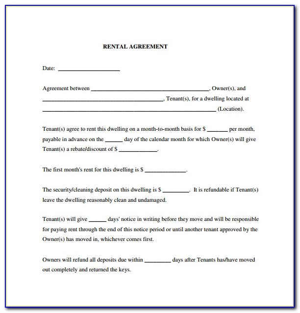 Lease Agreement Forms Pdf