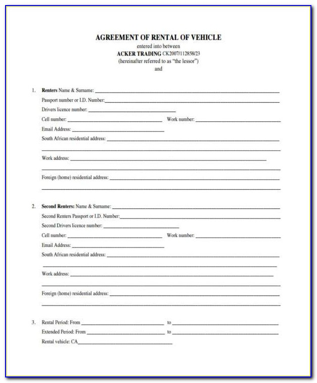 Lease Agreement Sample South Africa