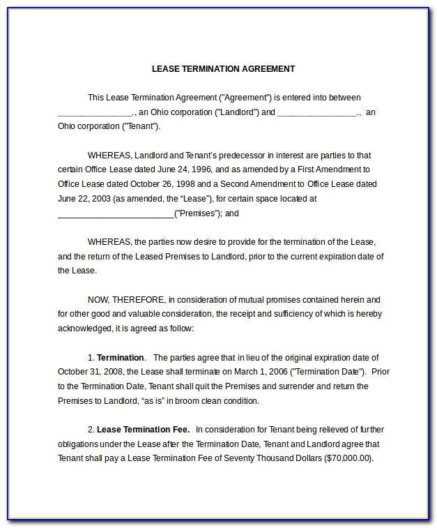 Lease Agreement Termination Letter Sample
