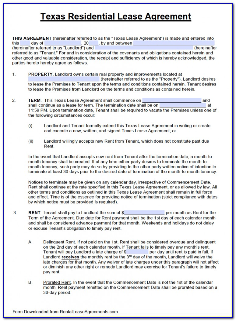 Lease Agreement Texas Template