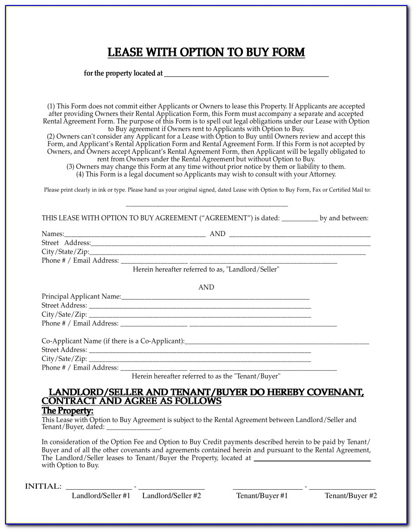 Lease Agreement With Option To Purchase Template