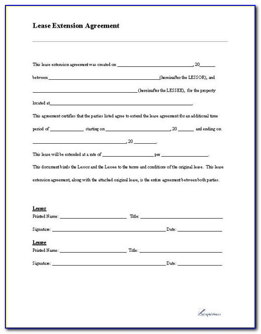 Lease Extension Agreement Form Free