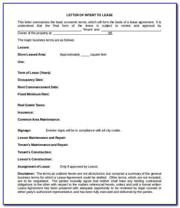 Lease Letter Of Intent Example