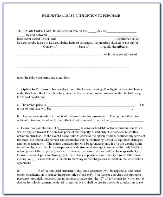 Lease Option To Purchase Agreement Sample