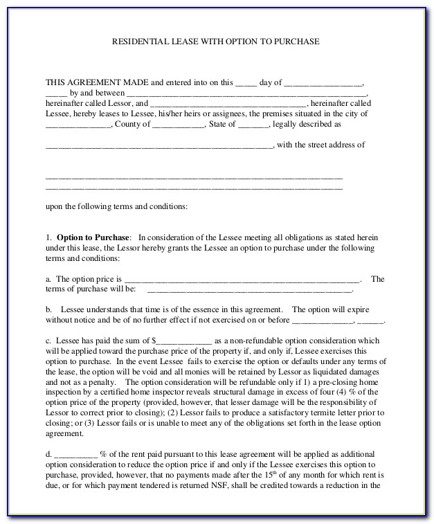 Lease Purchase Agreement Example