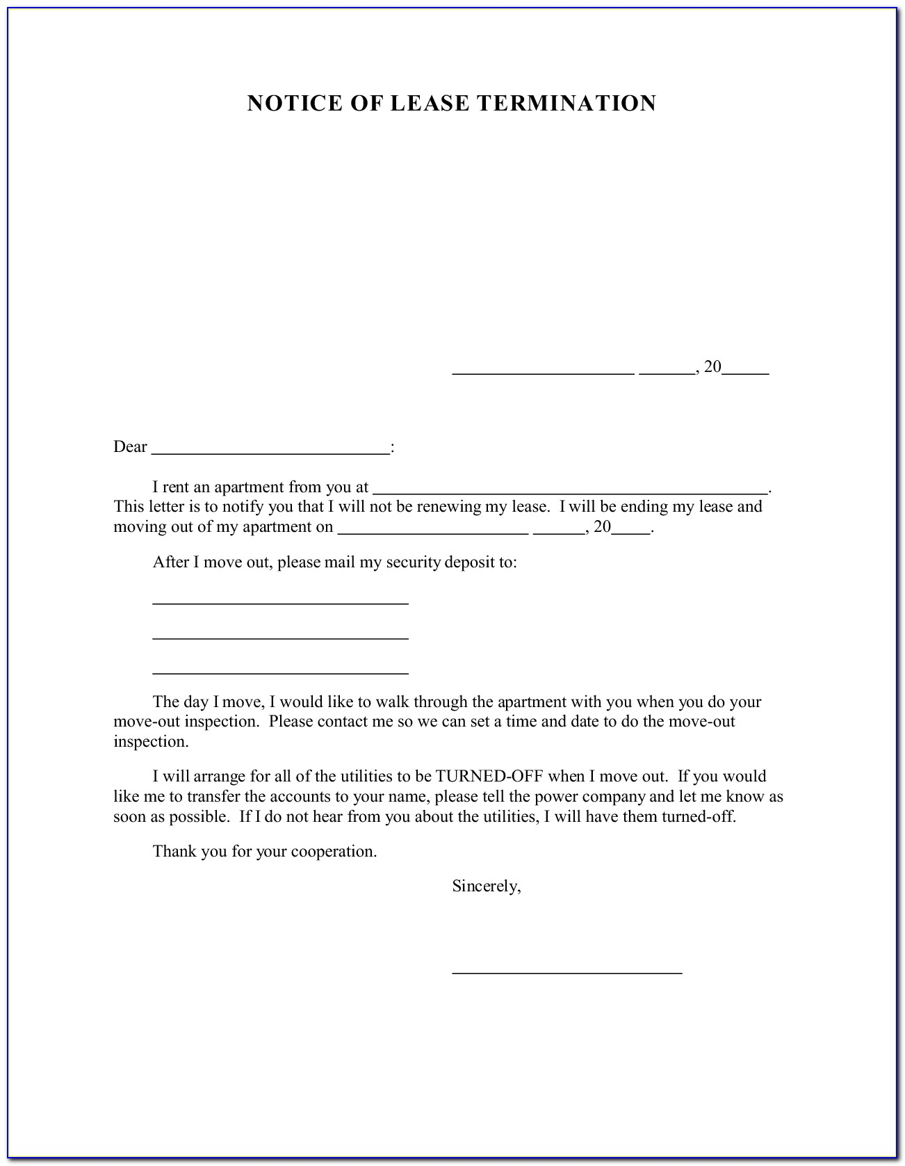 Lease Renewal Agreement Form