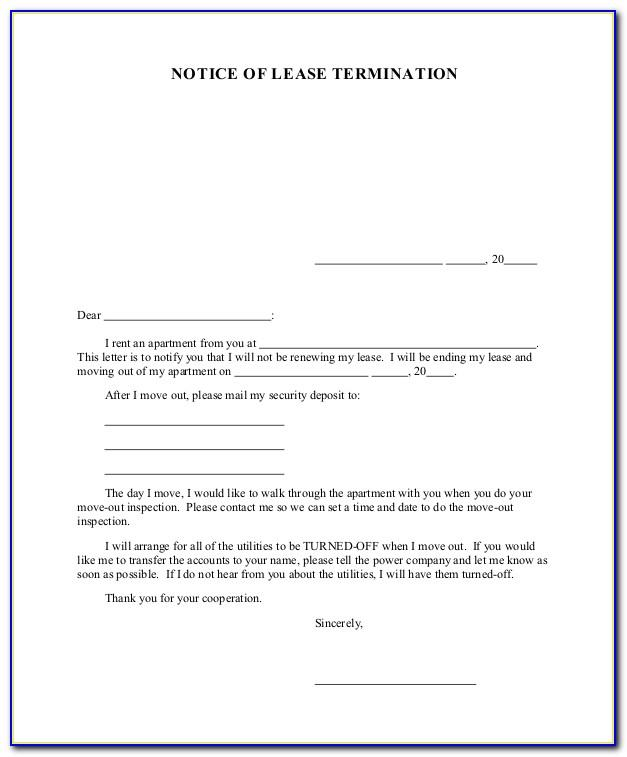 Lease Termination Notice Letter Sample