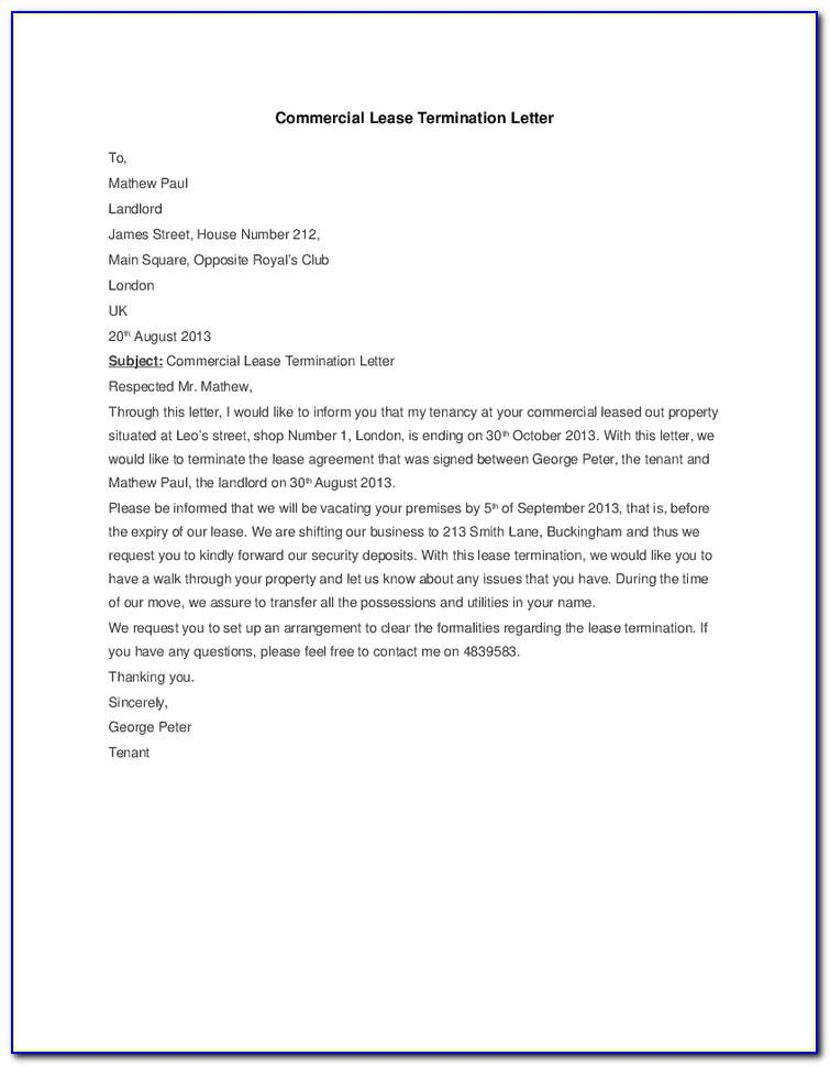 Lease Termination Notice To Landlord Template