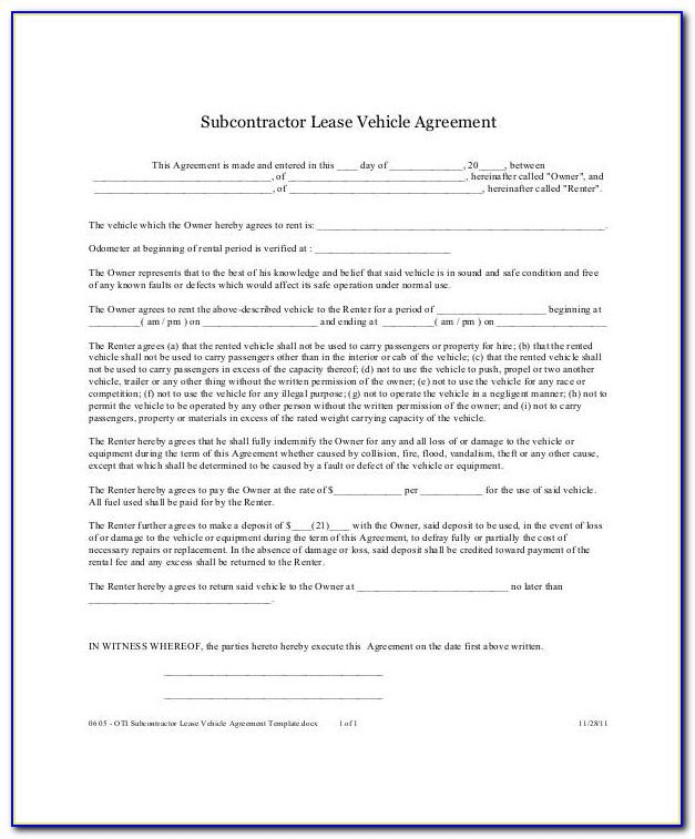 Lease To Own Agreement Forms