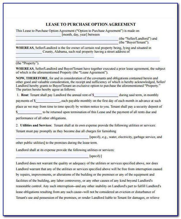 Lease To Own Home Contract Template