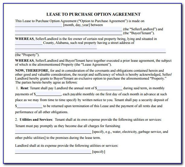 Lease To Purchase Option Agreement Form Download