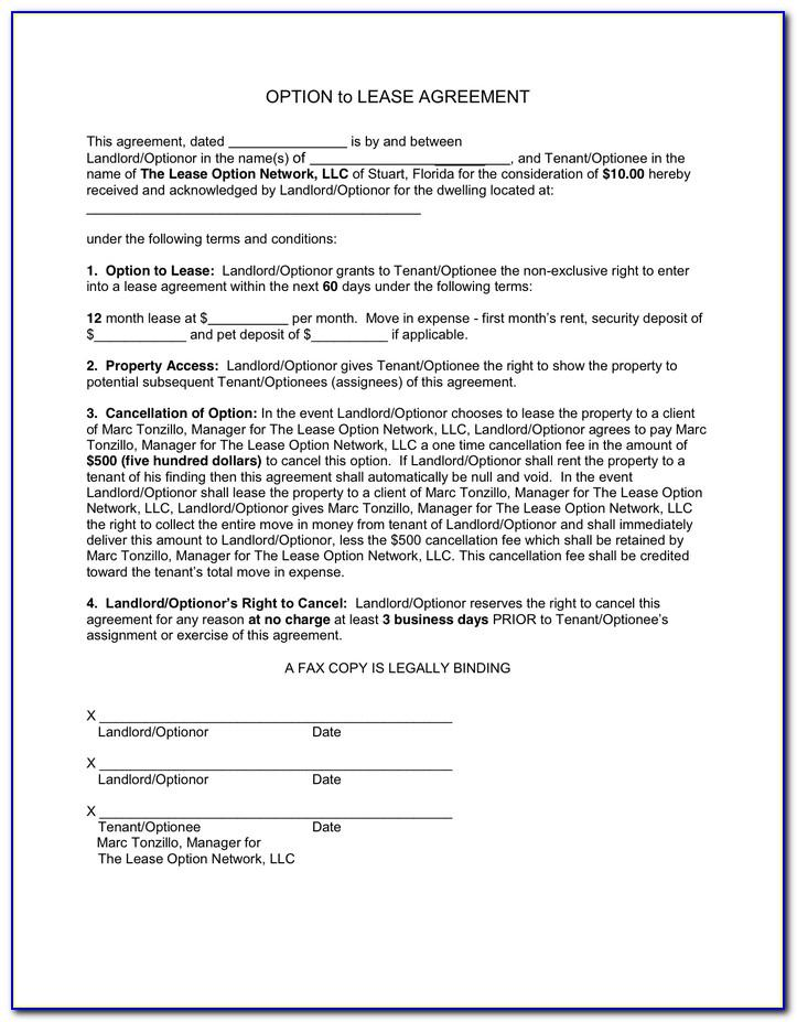 Lease With Option To Purchase Agreement Form