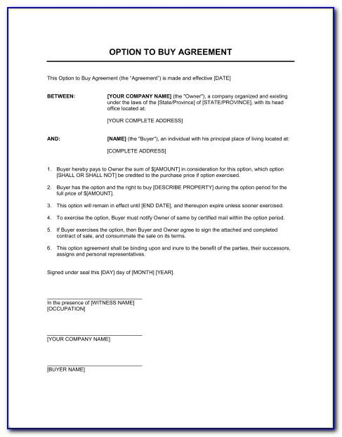 Lease With Option To Purchase Agreement Template