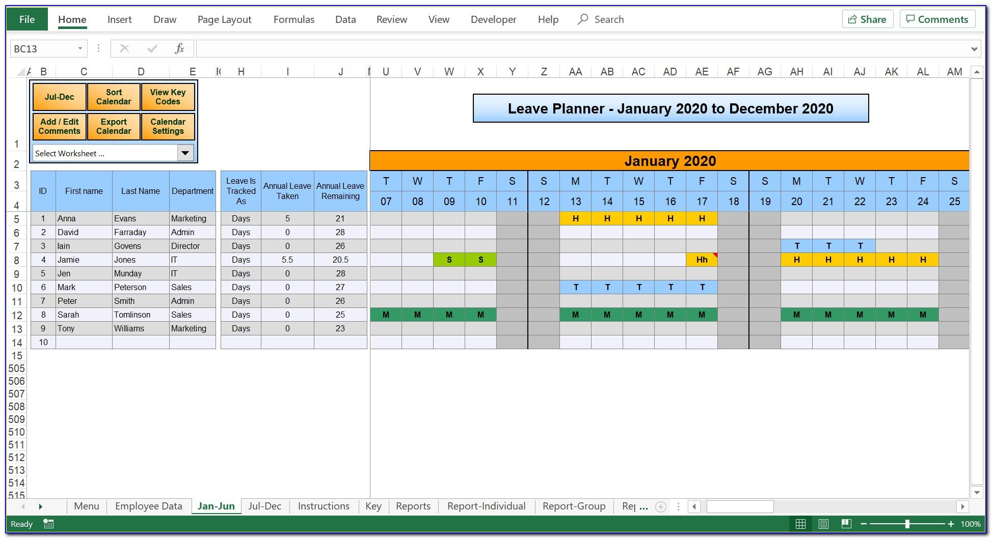 Leave Planner Excel Template 2018