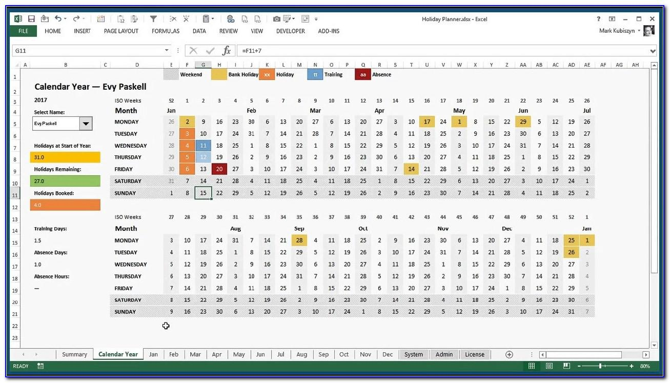 Leave Planner Excel Template Xls