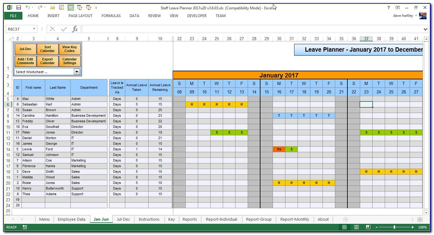 Leave Planning Template Excel