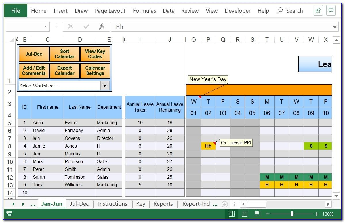 Leave Schedule Template Excel Monthly