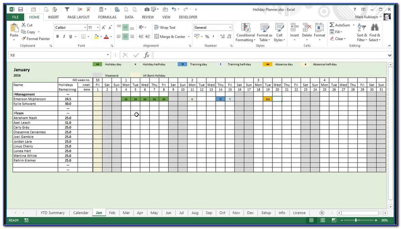Leave Schedule Template Excel