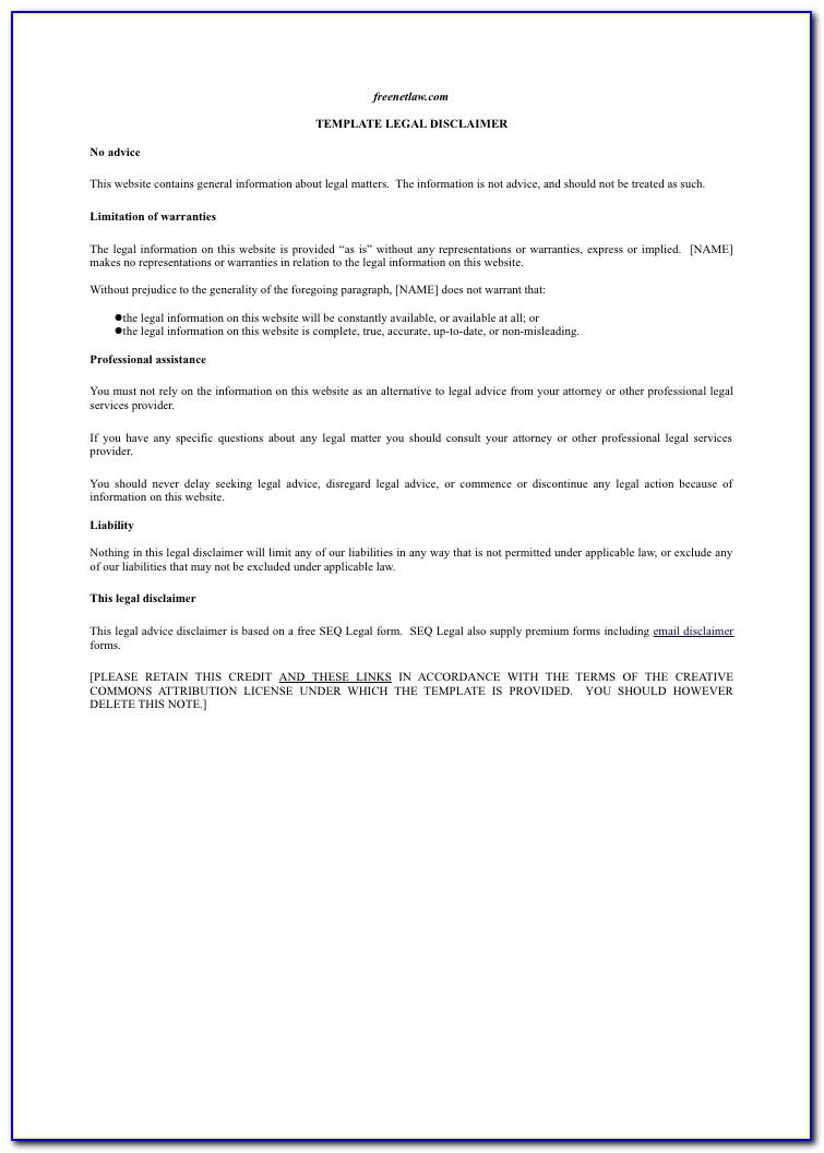 Legal Advice Disclaimer Examples
