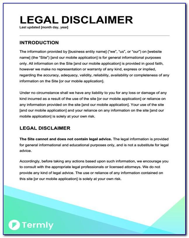 Legal Advice Disclaimer Template